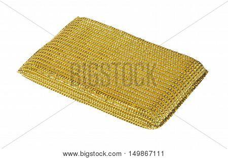 A steel scourer sponge on a white background
