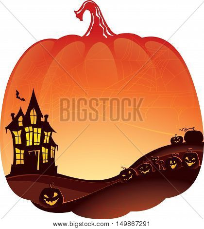 Halloween background with haunted house and pumpkins with copyspace. This image is a vector illustration and can be scaled to any size without loss of resolution. Created in Adobe Illustrator. Image co