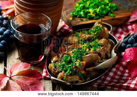 Ossobuco Milanese .style rustic . Selective focus