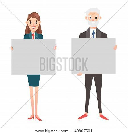 Group of business people presenting empty banner vector. Isolated on white business people hold banner female standing. Business people team hold banner advertising poster hand presenting.