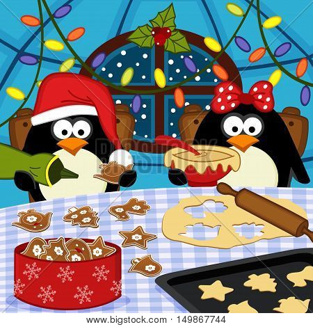 penguins bake Christmas cookies - vector illustration, eps