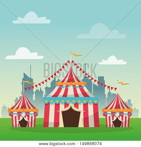 striped tent icon. Carnival festival fair circus and celebration theme. Colorful design. Vector illustration