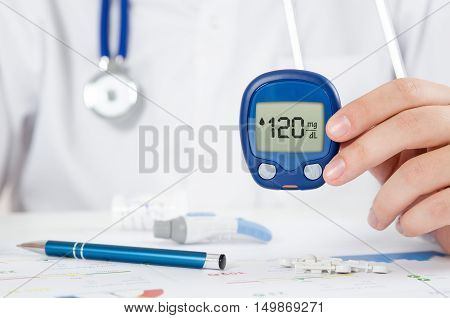 Doctor Making Blood Sugar Test. Healthcare, Diabetes, Medical Concept
