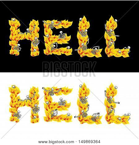 Hell Text. Fire Letters. Skeletons In Inferno. Sinners In Gehennal. Satanic Symbol. Hellish Thick