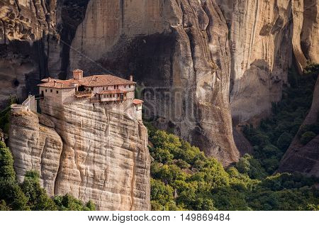 Breathtaking view on the Rousanou monastery Meteora Greece. It is not surprising that this place was chosen for prayer and solitude