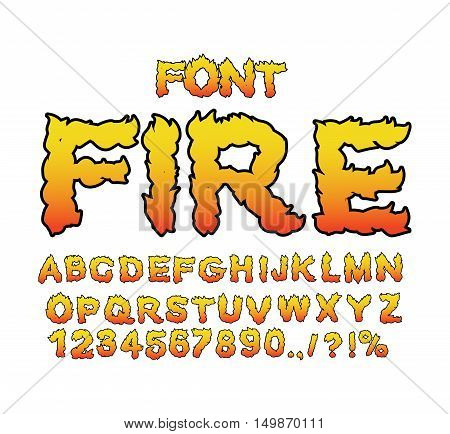 Fire font. Flame ABC. Fiery letters. Burning alphabet. Hot typography. blaze lettring poster