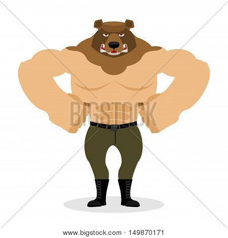 Man Bear. Strong Powerful Wild Evil Animal With Big Muscles. Bodybuilder With Beast Head. Russian An