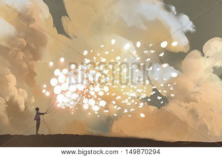 man releasing glowing balloons and butterflies flock in the sky, illustration painting