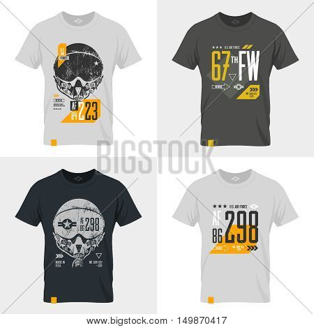 Modern American air force old grunge effect tee print vector design set. Premium quality superior pilot helmet and number logo concept. Shabby t-shirt U.S. aircraft emblem.