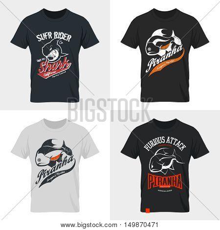 Piranha and shark old grunge effect tee print vector design set.Premium quality superior American retro logo concept. Shabby dangerous fish t-shirt emblem.