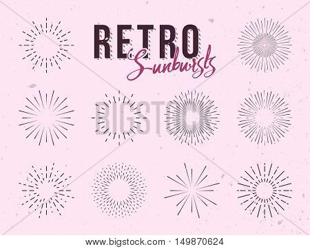 Set of vintage linear sunbursts. Hand-drawn vector illustration. Starbursts elements for logo design, labels or badges.