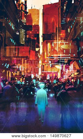 glowing blue man walking in futuristic city with colorful light, illustration painting