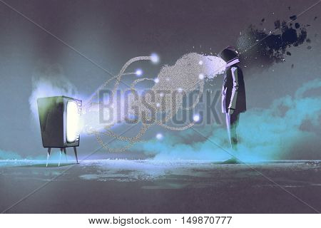 man standing in front of unusual television on dark background, illustration painting