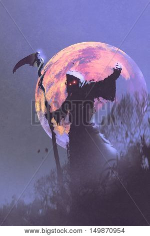 the death with scythe standing against night sky with full moon, halloween concept, illustration painting