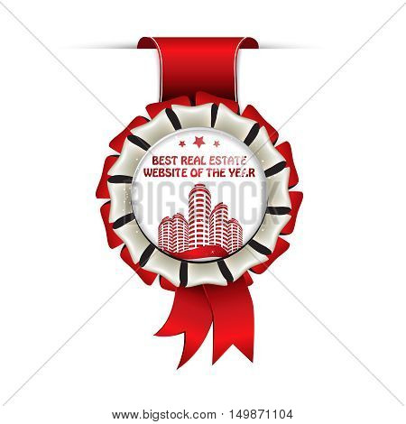 Best real estate website of the year - business award red ribbon for internet real estate sites