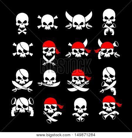 Jolly Roger. Pirate Flag. Skull And Crossbones. Skeleton Head In Sling. Swords And Guns. Developing
