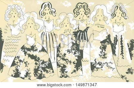 Female vocal ensemble. Cute cartoon poster. Vector image.