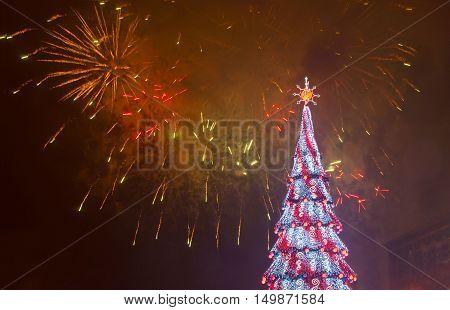 Beautiful Firework And Christmas Tree