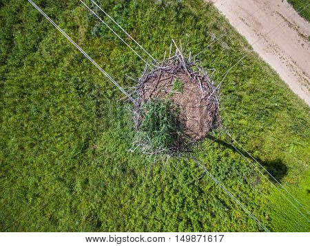 Aerial view of big stork nest at summer time