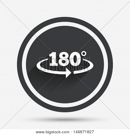 Angle 180 degrees sign icon. Geometry math symbol. Circle flat button with shadow and border. Vector