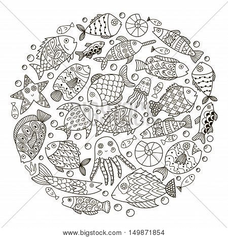 Circle shape pattern with cute fantasy fish for coloring book. Sea life black and white background. Vector illustration