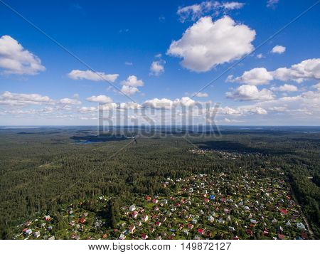 Countryside aerial view at summer time with good weather
