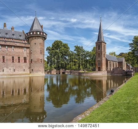 Haarzuilens, Netherlands - August 5: The oldest historical record of a building at the location of the current De Haar castle dates to 1391. The current buildings of De Haar Castle are all built upon the original castle, date from 1892 and are the work of