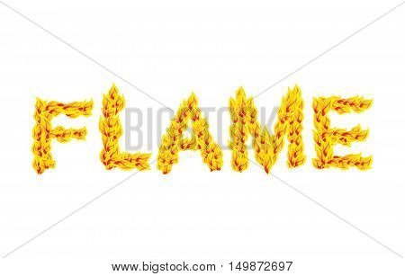 Flame. Fire Typography. Burning Letters. Fiery Lettering