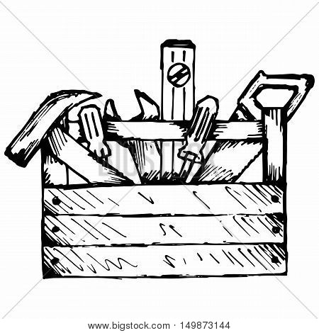 Toolbox with tools. Isolated on white background. Vector doodle style