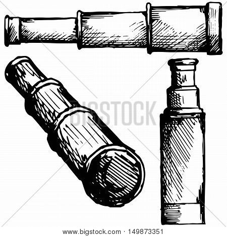 Spyglass. Isolated on white background. Vector doodle style