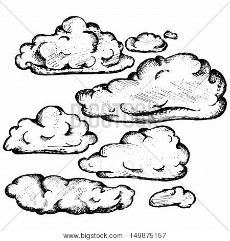 Sky with cloud closeup. Isolated on white background. Vector doodle style