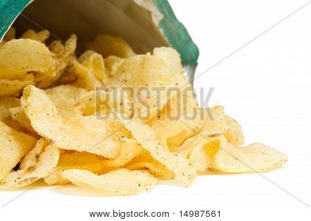 Potato Chips Spilling from Bag