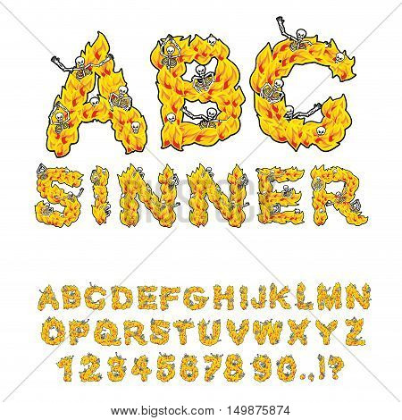 Sinner font. Letters from flames. Skeletons in hell fire. ABC. fiery Alphabet