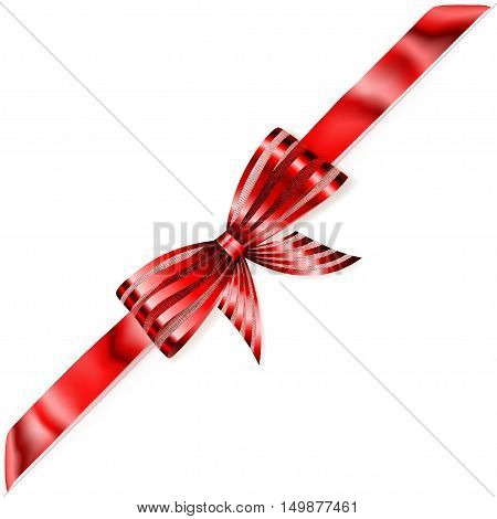 Shiny Bow With Diagonally Ribbon