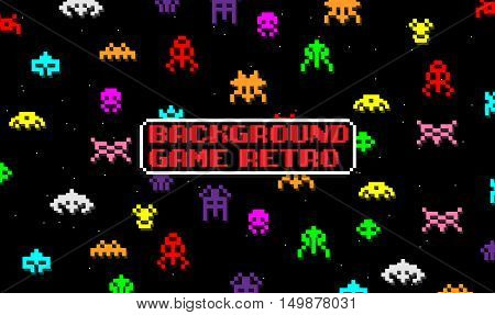 BACKGROUND GAME WITH SPACE ALIENS IN RETRO STYLE