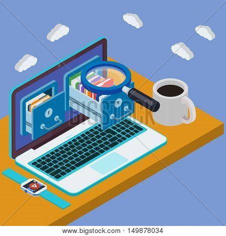 Desk With Laptop 3D. Database Storage Server. Businessman Put In Document Drawer Folder In Cloud-sha