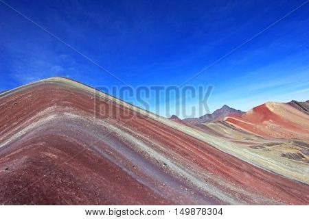 The beautiful colored Rainbow Mountain near Cusco Peru. From close to see the structure and the colorlines. Located about 20km south of Ausangate mountain.