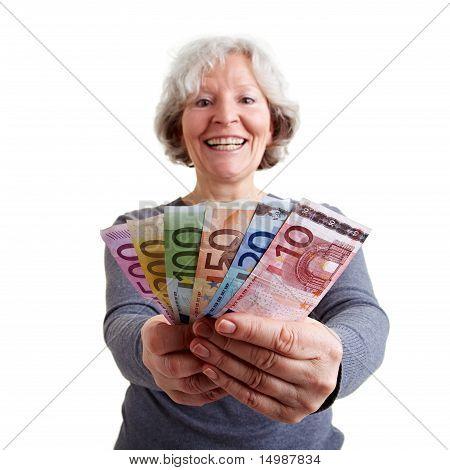 Happy Elderly Woman With Money