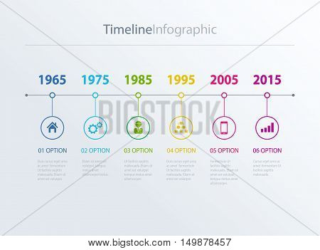 Vector timeline Infographic in retro style with diagrams.