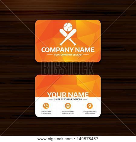 Business or visiting card template. Baseball bats and ball sign icon. Sport hit equipment symbol. Phone, globe and pointer icons. Vector
