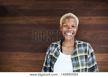 African Descent Smiling Woman Portrait Concept