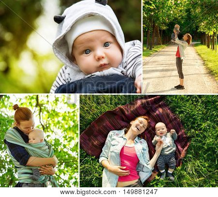 Collage of photos mother and baby on nature in the park. Maternity and activity with baby outdoors. Collage of Lifestyle Maternity Family Baby 0-12 months.