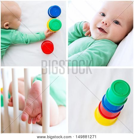 Collage Photos of Baby Child Playing and Discovery. Baby playing with colorful toys. Photos of baby child development employment and activity.