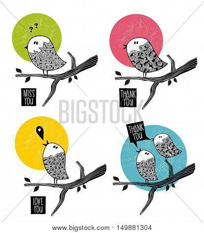 Set of doodle birds on the tree. Summer vector illustration.