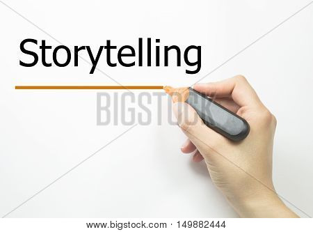 woman hand writing with marker Storytelling. business concept