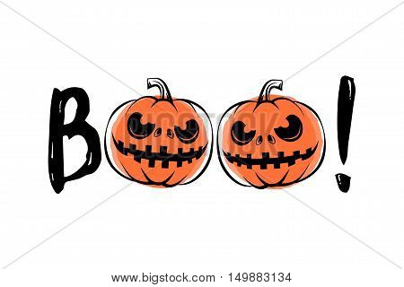 Vector illustration of halloween sound boo. Halloween label with element typography text sign, grunge effect, scary pumpkin.