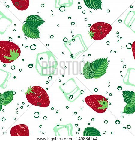 Strawberry mojito seamless vector pattern.  Ice cubes, strawberry and mint illustration on white background.