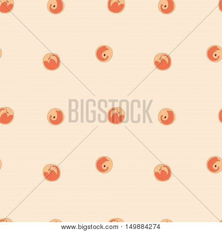 Peaches seamless vector pattern. Peaches on pink background