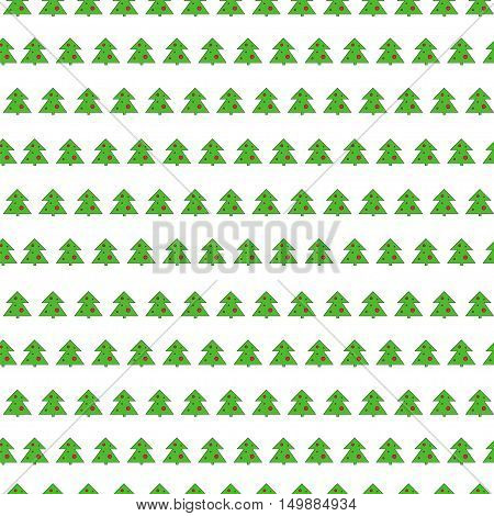 Christmas tree seamless vector pattern on white background.