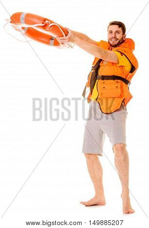 Lifeguard in life vest jacket with ring buoy lifebuoy. Man supervising swimming pool water. Accident prevention.
